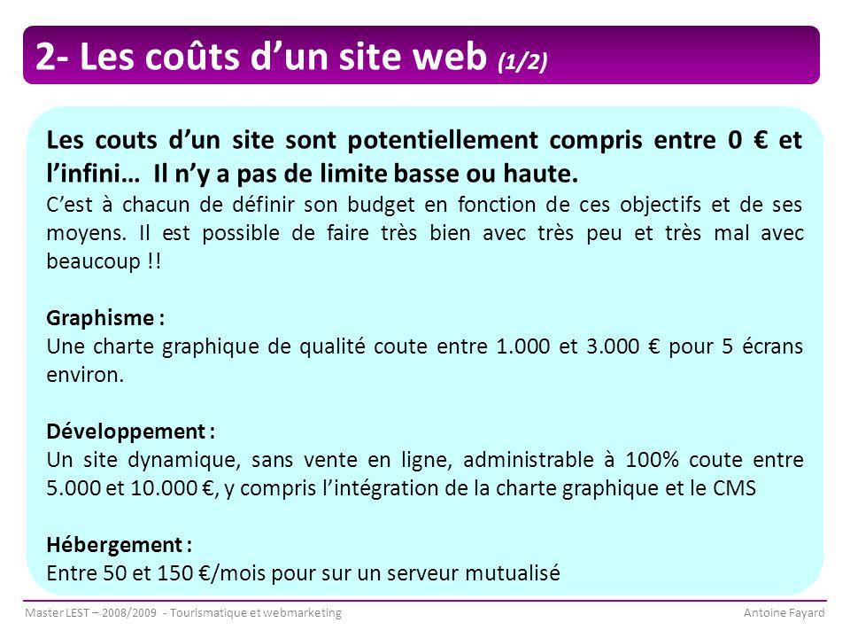 2- Les coûts d'un site web (1/2)