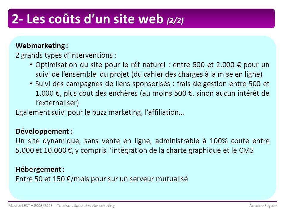 2- Les coûts d'un site web (2/2)