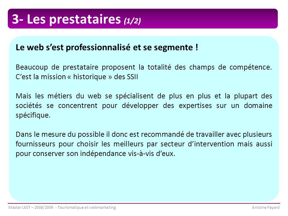 3- Les prestataires (1/2) Le web s'est professionnalisé et se segmente !