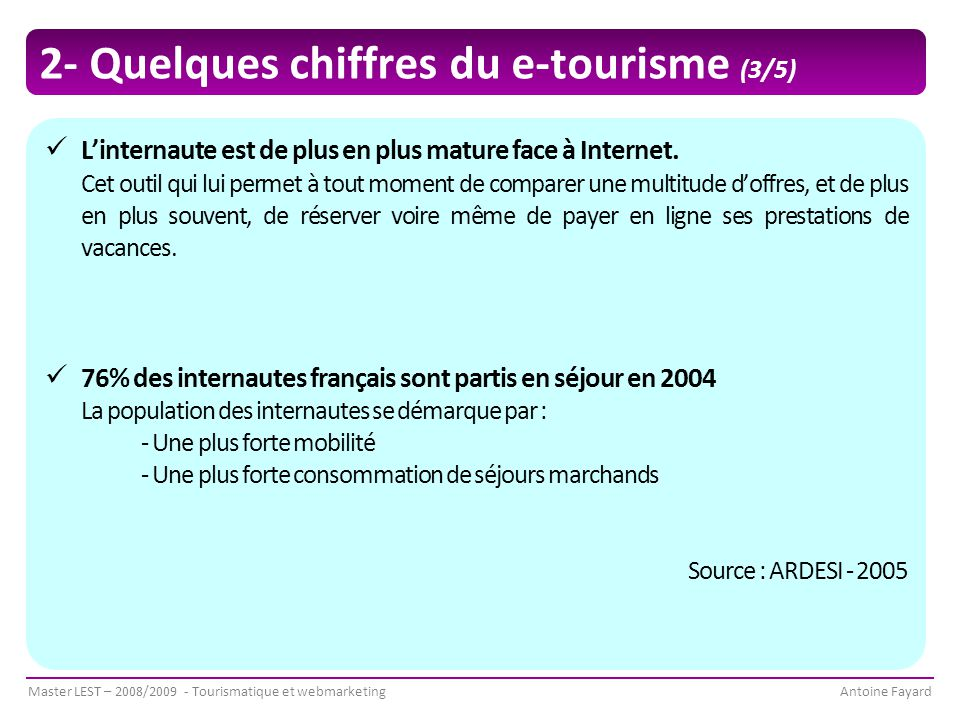 2- Quelques chiffres du e-tourisme (3/5)
