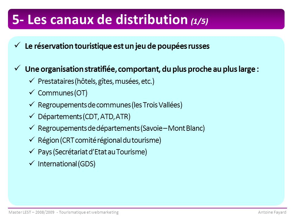 5- Les canaux de distribution (1/5)