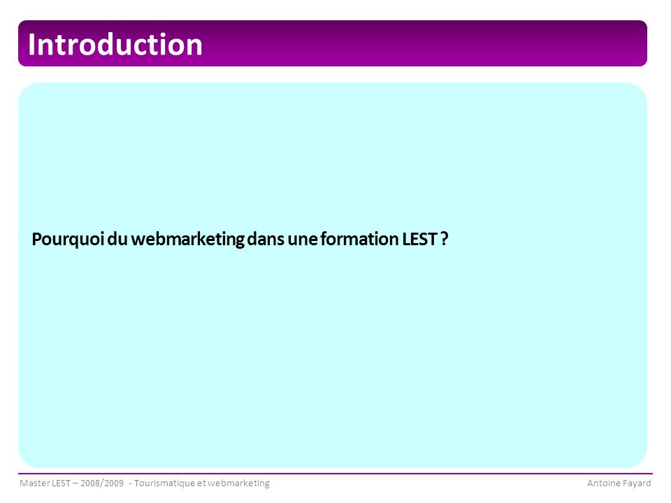 Introduction Pourquoi du webmarketing dans une formation LEST