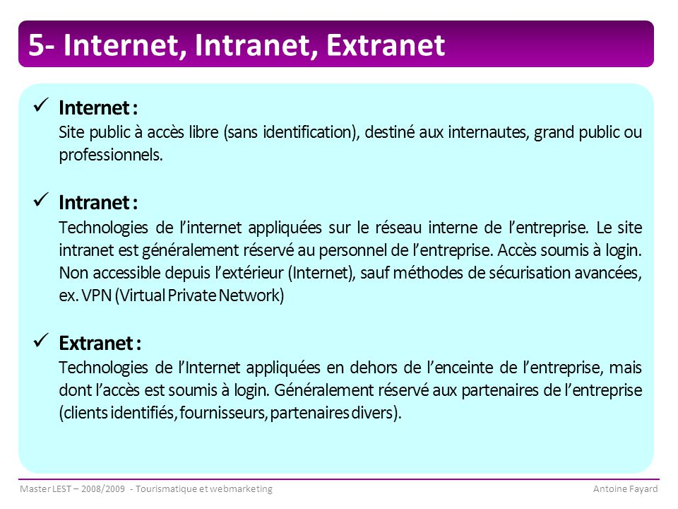 5- Internet, Intranet, Extranet