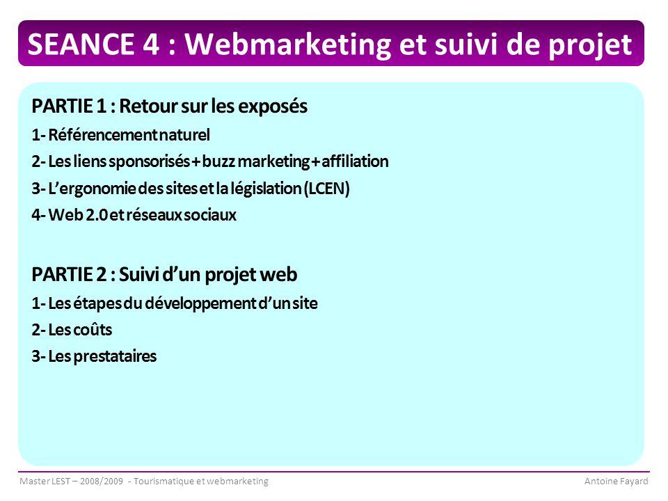 SEANCE 4 : Webmarketing et suivi de projet