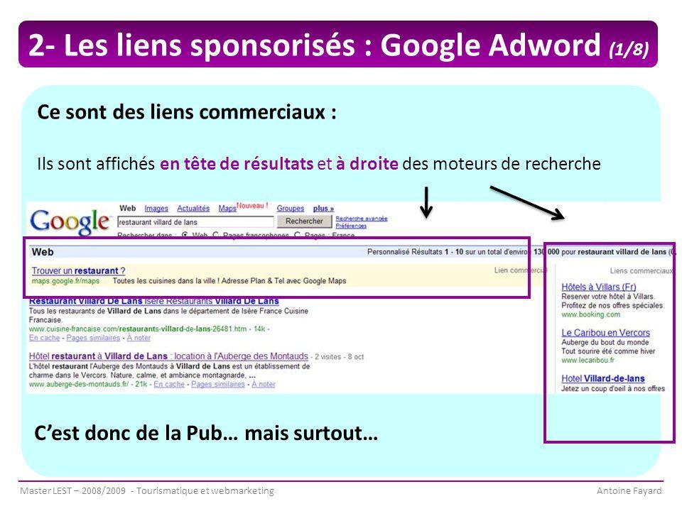 2- Les liens sponsorisés : Google Adword (1/8)