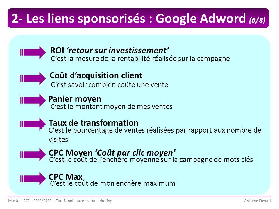 2- Les liens sponsorisés : Google Adword (6/8)