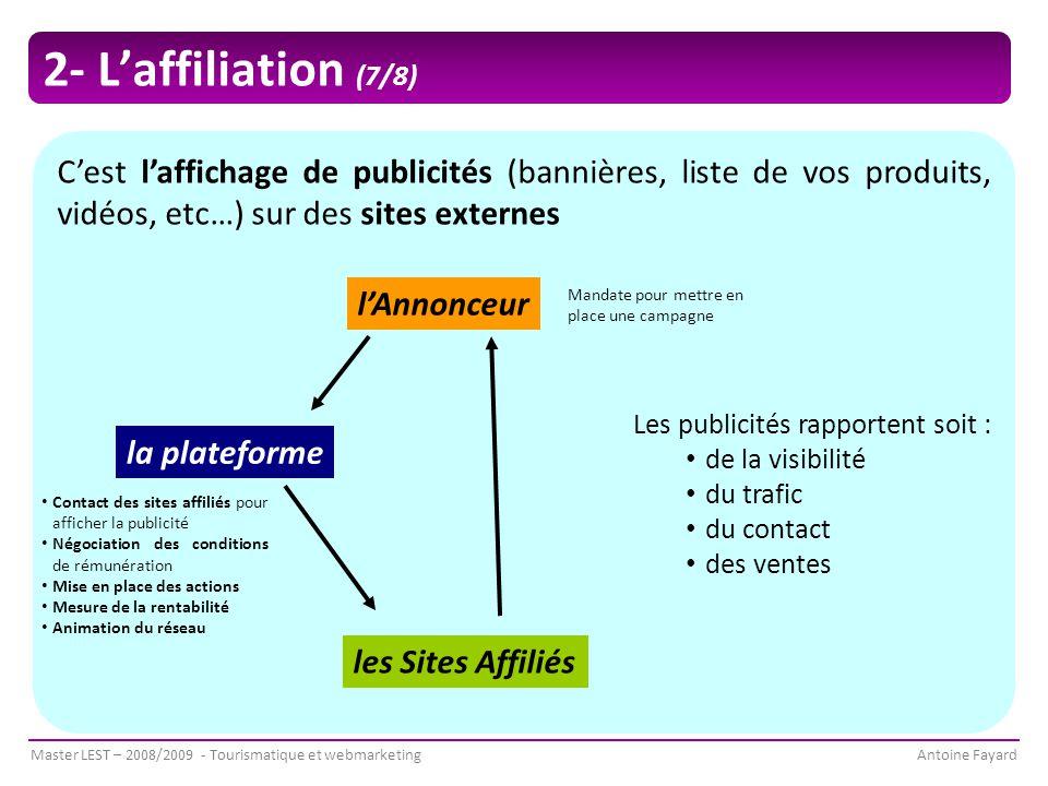 2- L'affiliation (7/8) C'est l'affichage de publicités (bannières, liste de vos produits, vidéos, etc…) sur des sites externes.