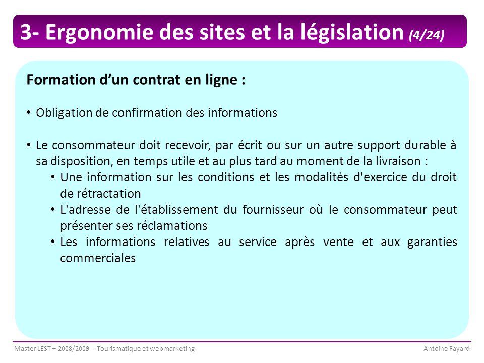 3- Ergonomie des sites et la législation (4/24)