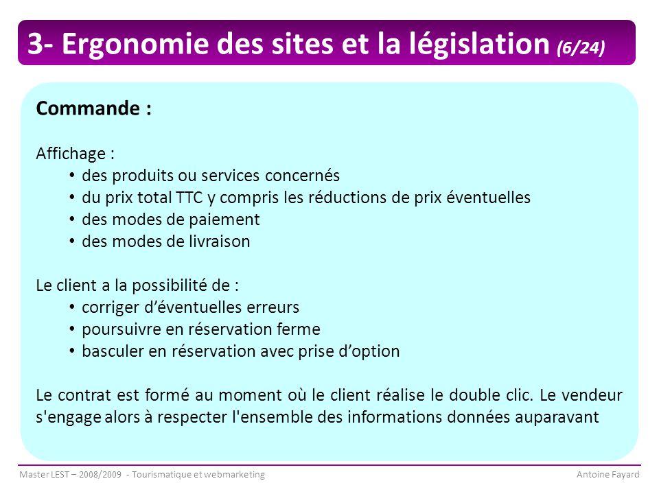 3- Ergonomie des sites et la législation (6/24)