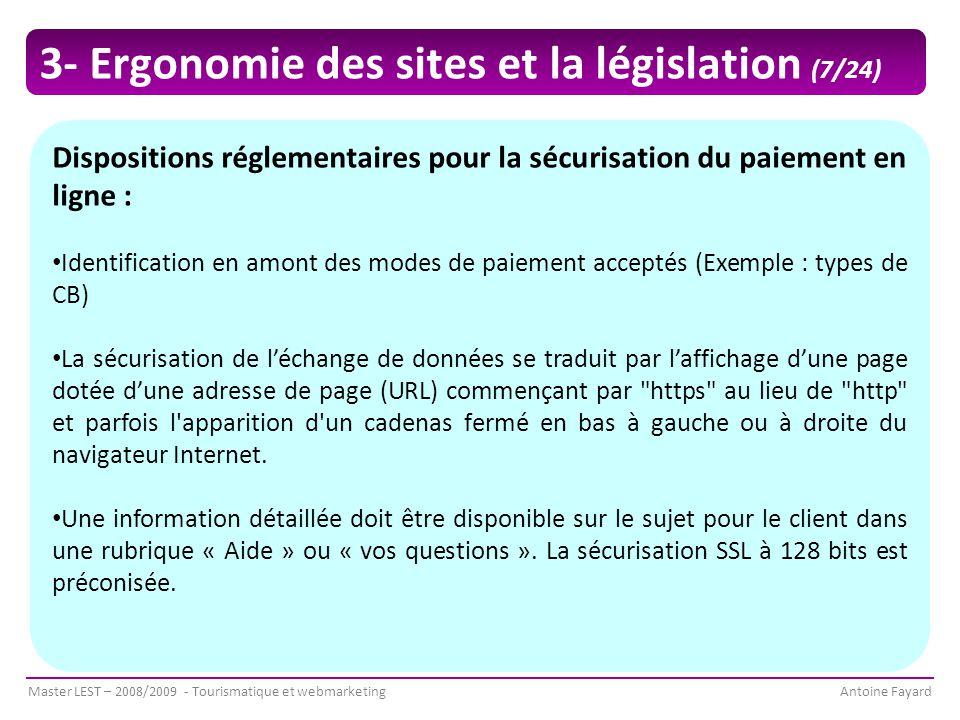 3- Ergonomie des sites et la législation (7/24)