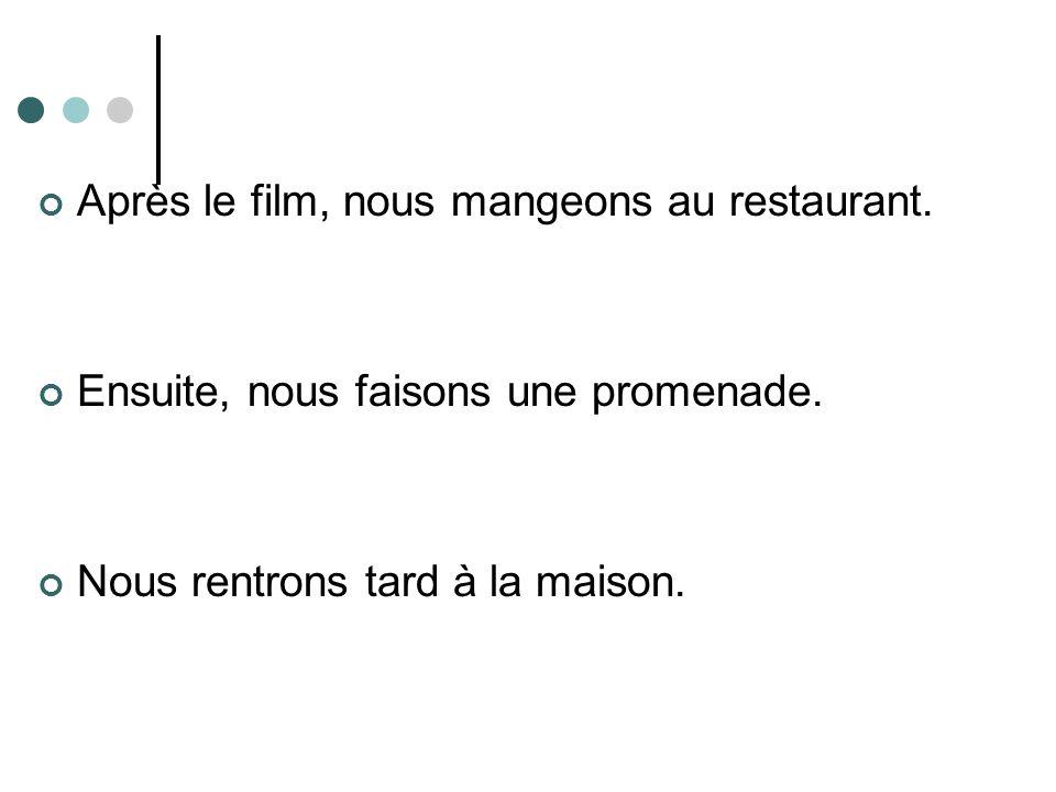 Après le film, nous mangeons au restaurant.