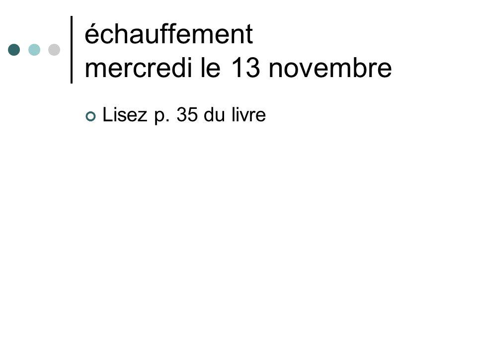 échauffement mercredi le 13 novembre