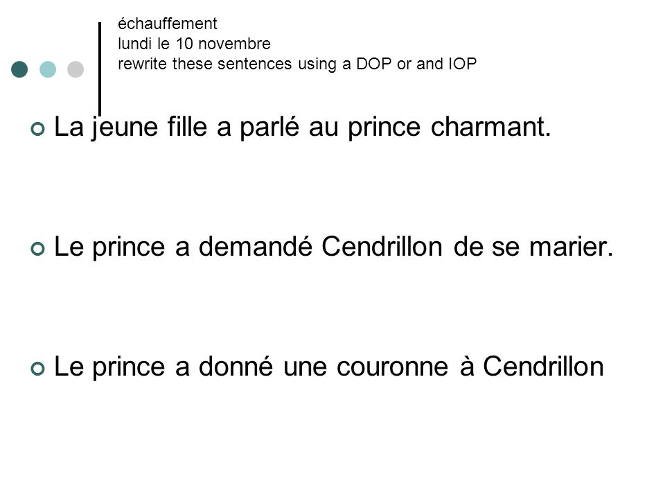 La jeune fille a parlé au prince charmant.