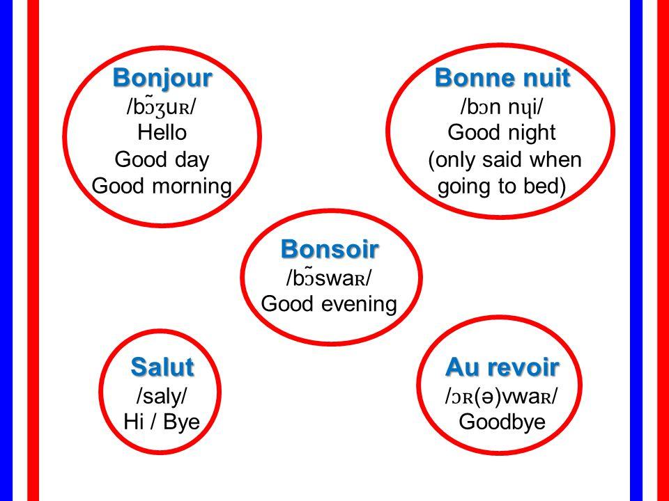 Bonjour /bɔ̃ʒuʀ/ Hello Bonne nuit /bɔn nɥi/ Good night