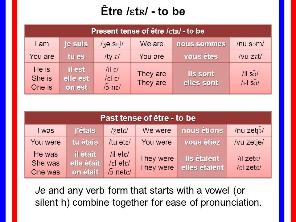 Être /ɛtʀ/ - to be Present tense of être /ɛtʀ/ - to be. I am. je suis. /ʒə sɥi/ We are. nous sommes.