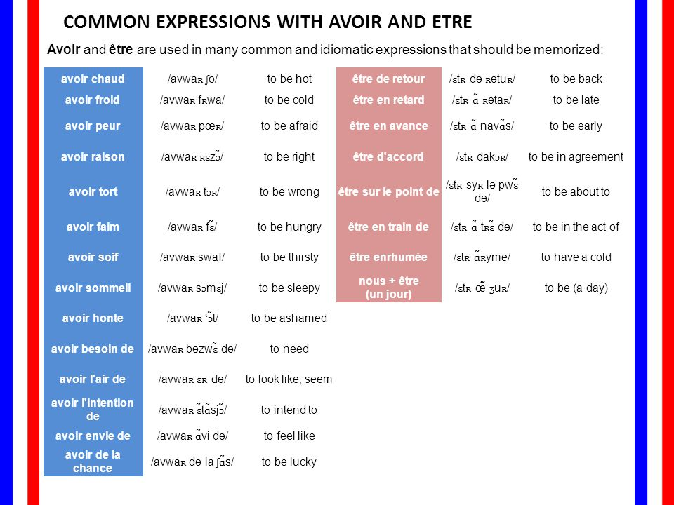 COMMON EXPRESSIONS WITH AVOIR AND ETRE