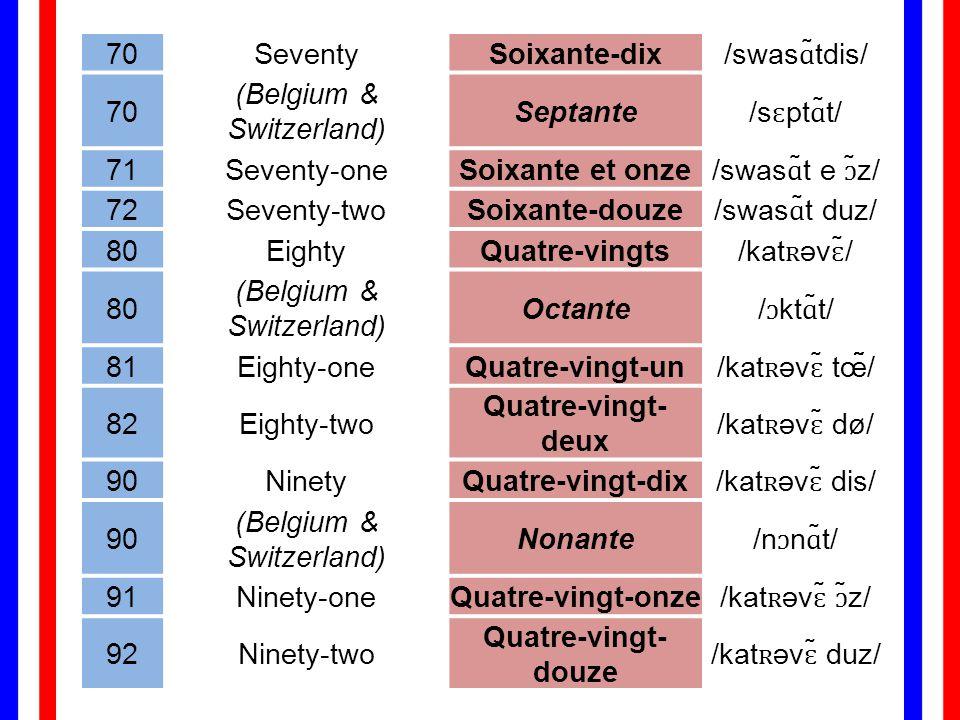 (Belgium & Switzerland) Septante /sɛptɑ̃t/ 71 Seventy-one