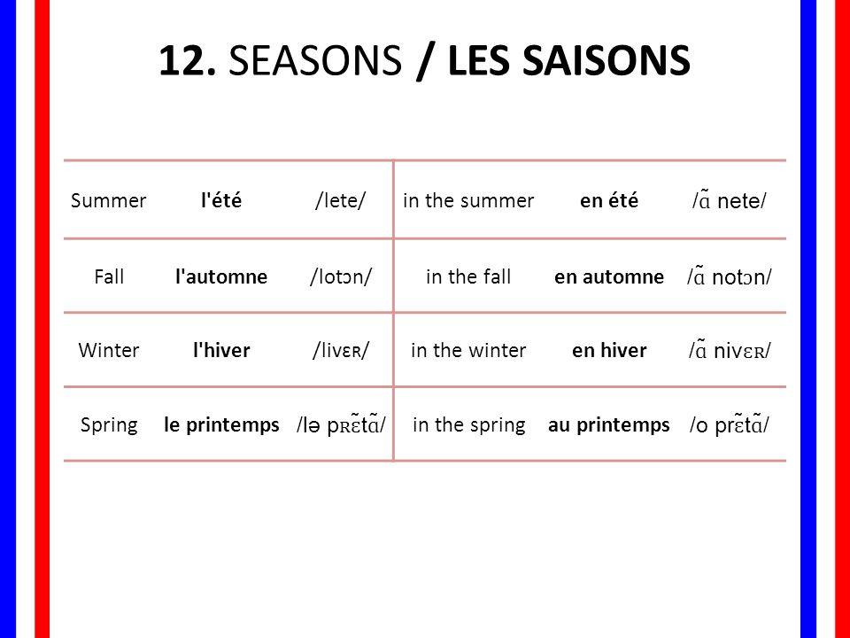 12. SEASONS / LES SAISONS Summer l été /lete/ in the summer en été