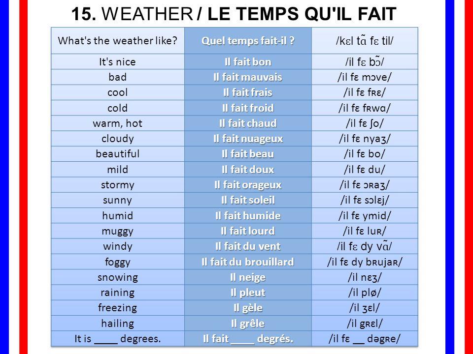 15. WEATHER / LE TEMPS QU IL FAIT