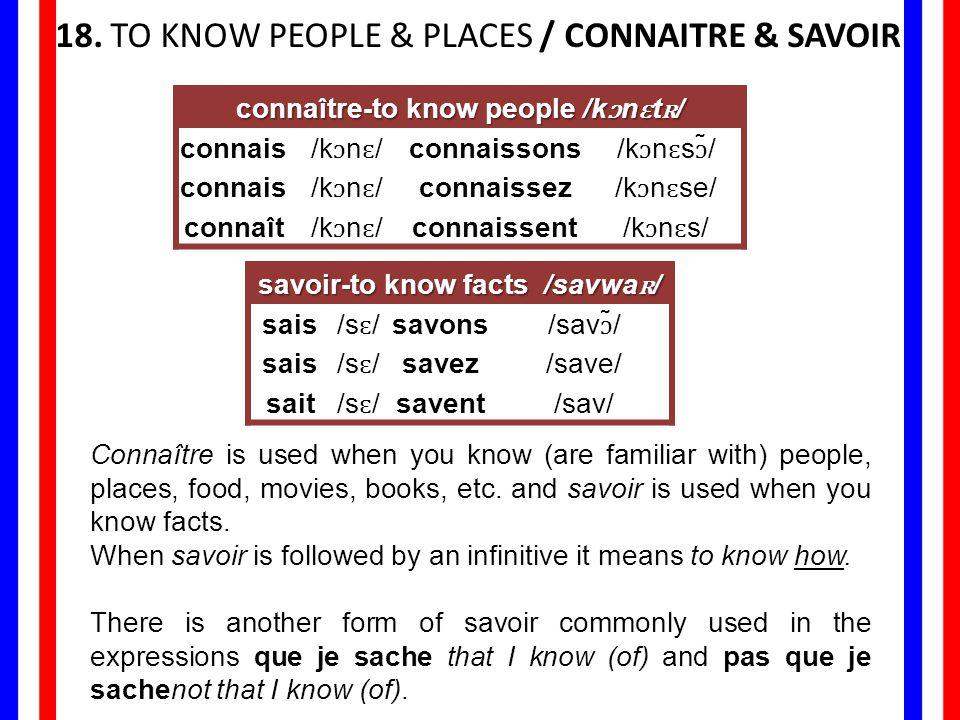 connaître-to know people /kɔnɛtʀ/ savoir-to know facts /savwaʀ/