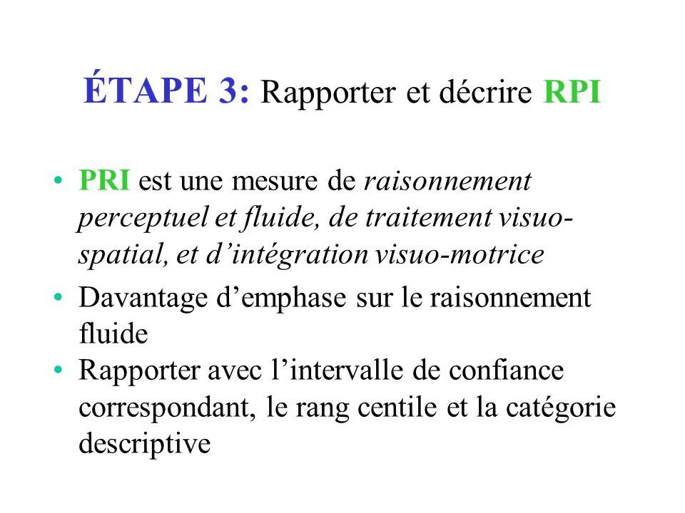 ÉTAPE 3: Rapporter et décrire RPI