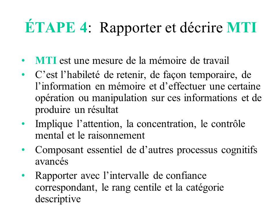 ÉTAPE 4: Rapporter et décrire MTI