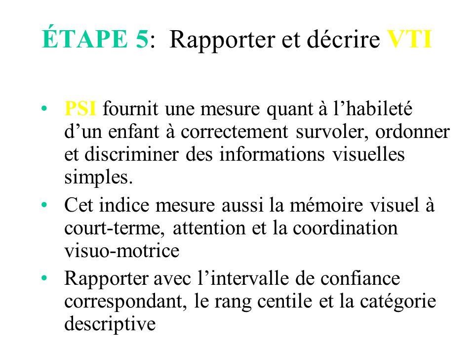 ÉTAPE 5: Rapporter et décrire VTI