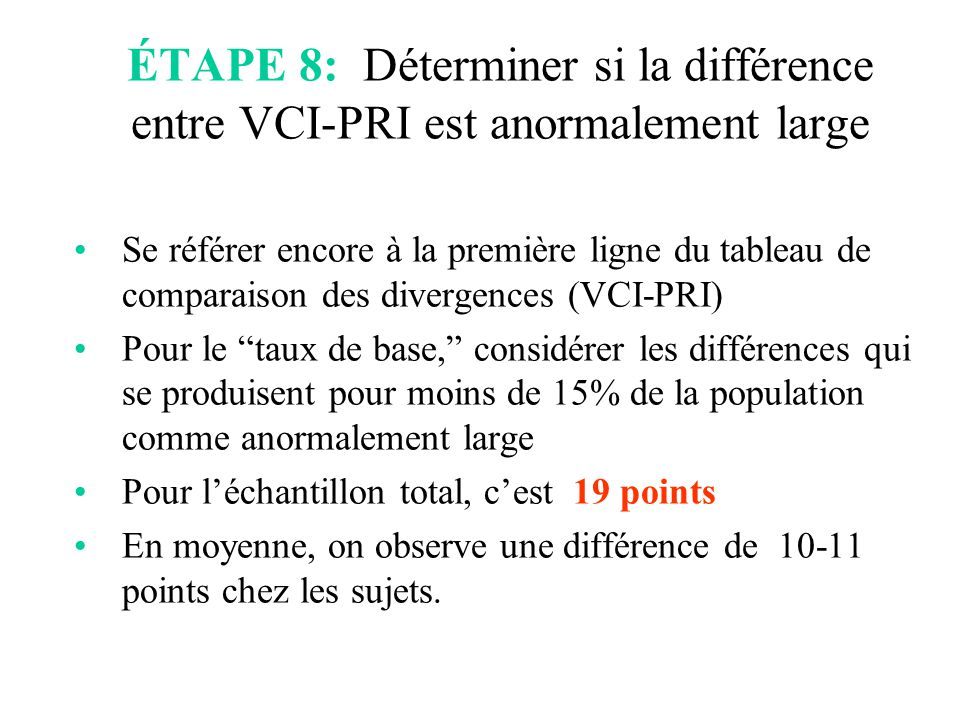 ÉTAPE 8: Déterminer si la différence entre VCI-PRI est anormalement large