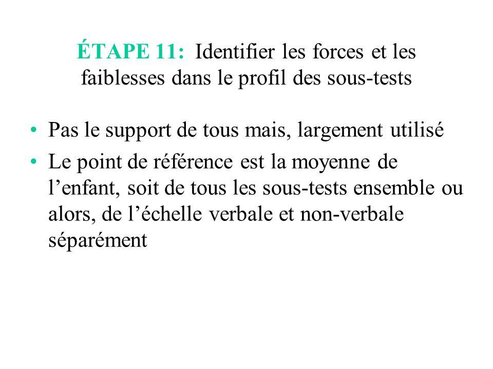 ÉTAPE 11: Identifier les forces et les faiblesses dans le profil des sous-tests