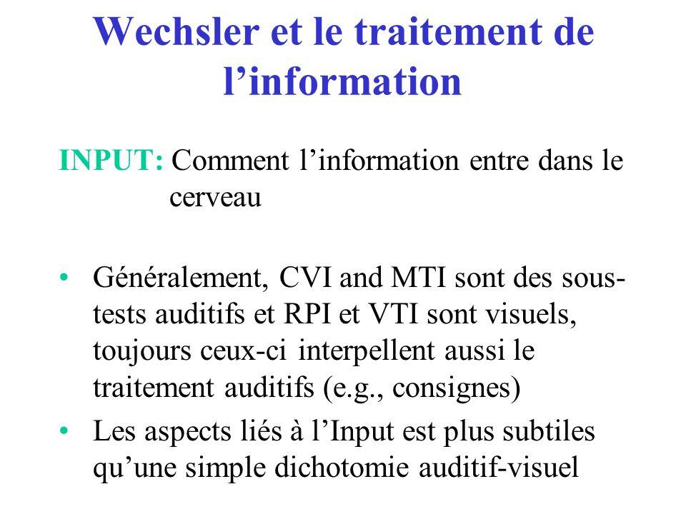 Wechsler et le traitement de l'information