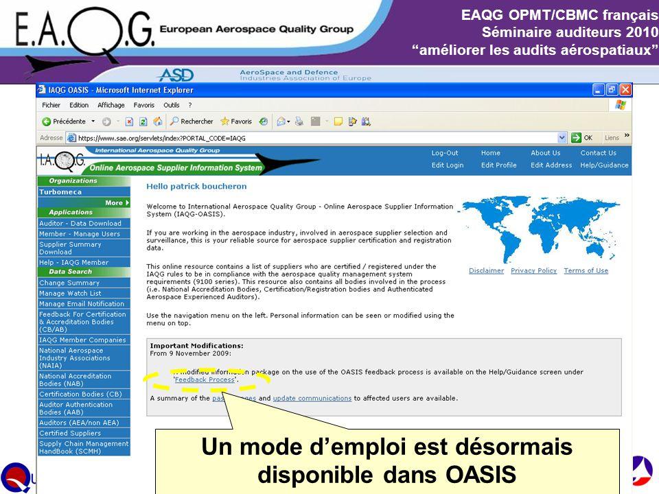 Un mode d'emploi est désormais disponible dans OASIS
