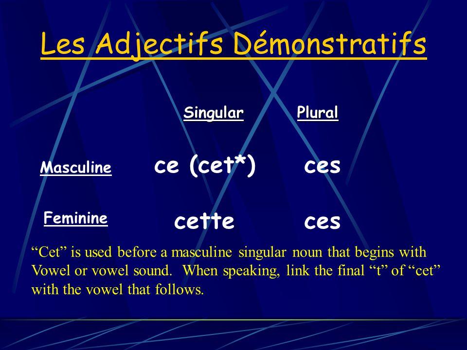 Les Adjectifs Démonstratifs