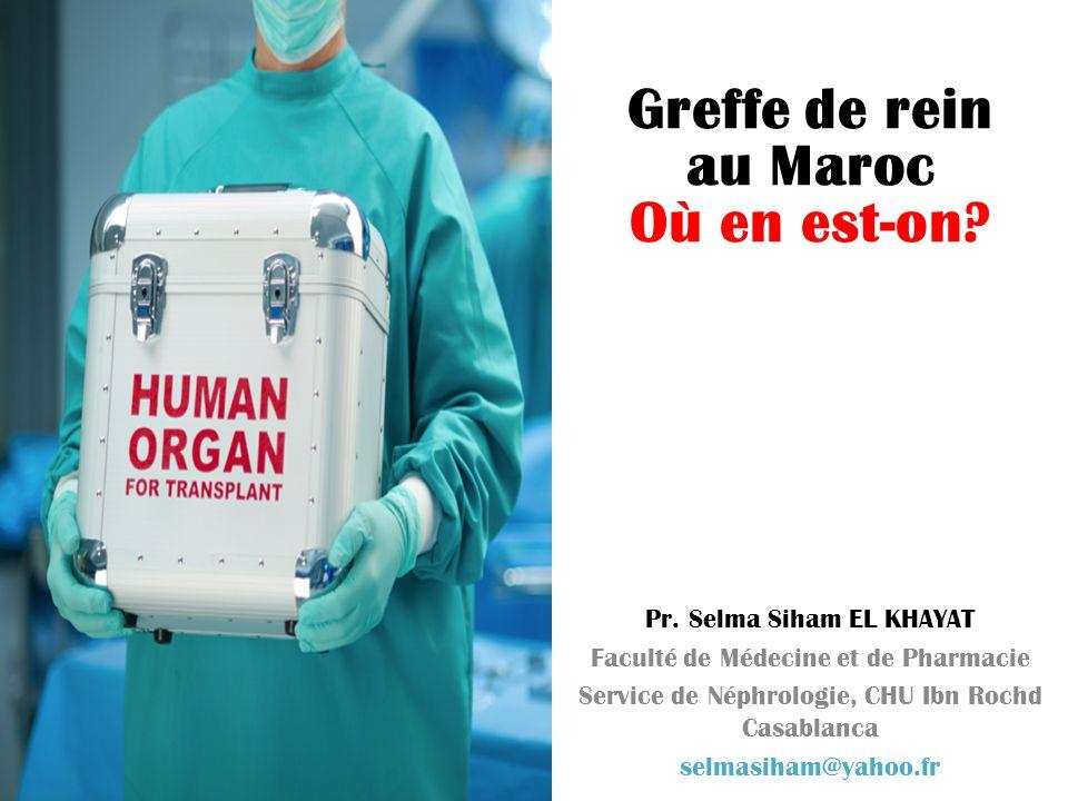 Greffe de rein au Maroc Où en est-on Pr. Selma Siham EL KHAYAT