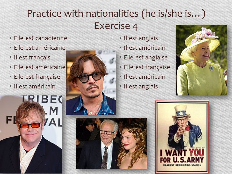 Practice with nationalities (he is/she is…) Exercise 4