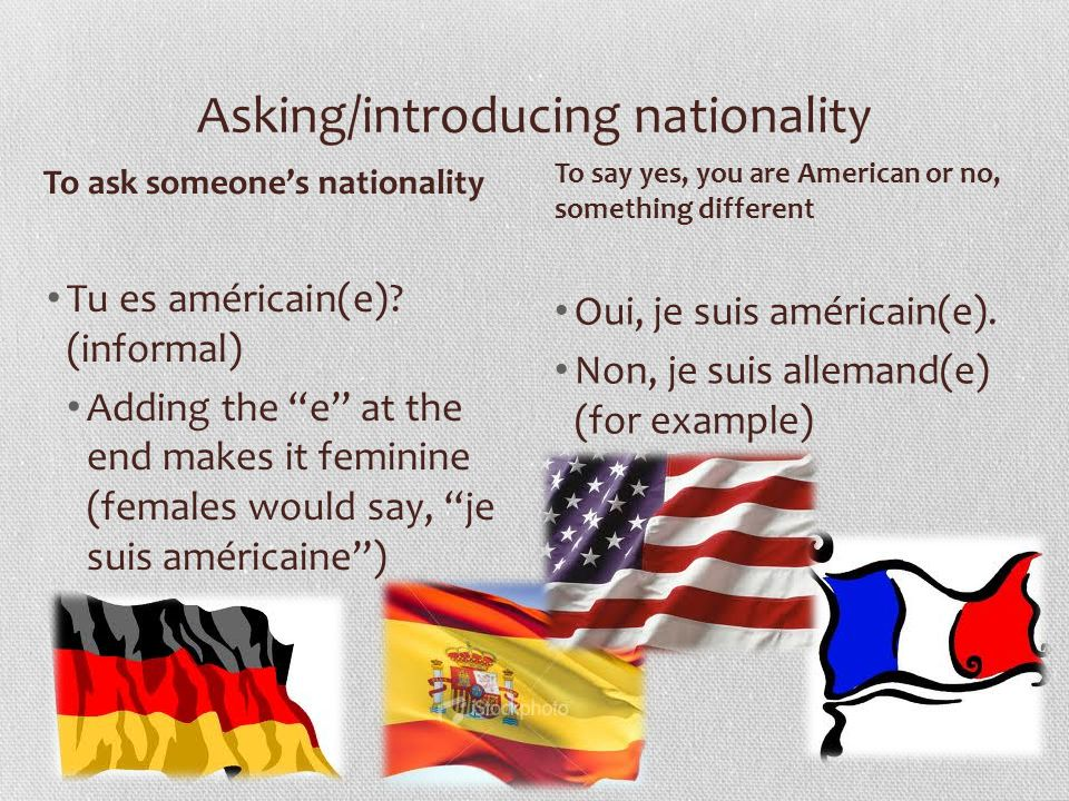 Asking/introducing nationality