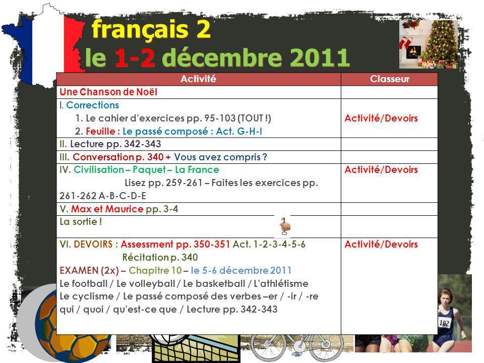 français 2 le 1-2 décembre 2011 Activité Classeur Une Chanson de Noël