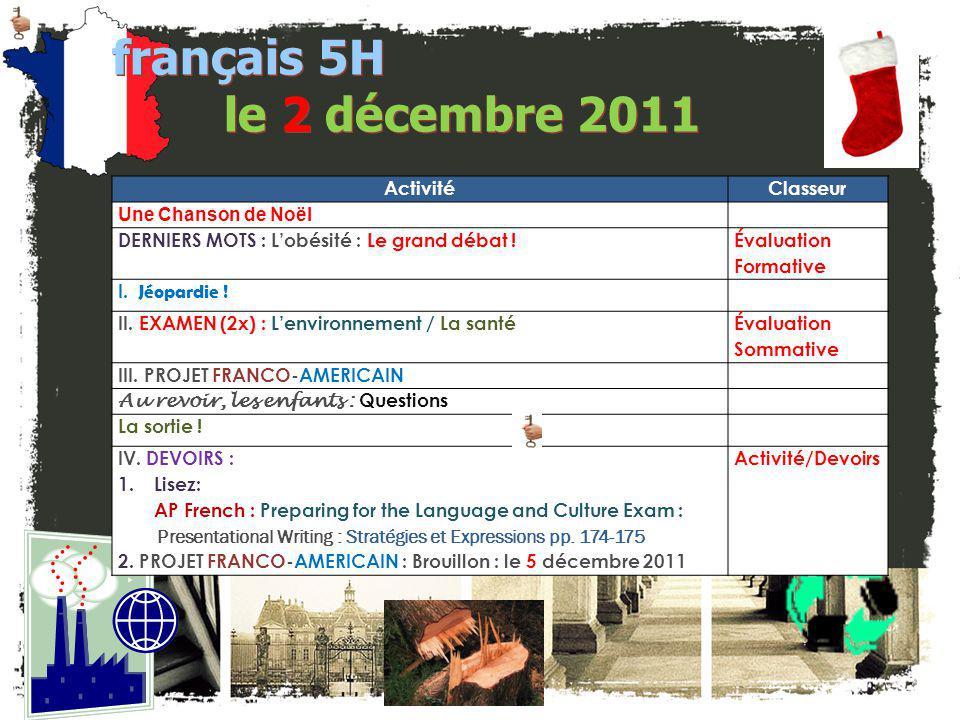 français 5H le 2 décembre 2011 Activité Classeur Une Chanson de Noël