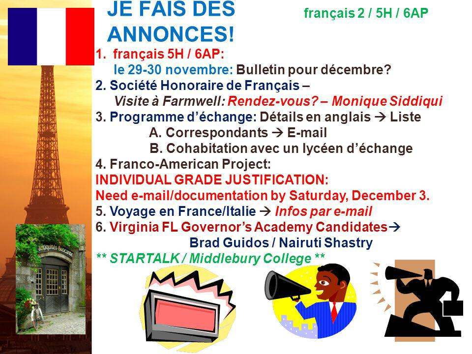 JE FAIS DES ANNONCES! français 2 / 5H / 6AP français 5H / 6AP: