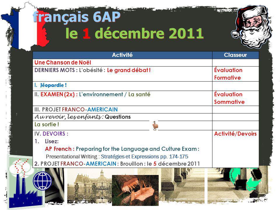 français 6AP le 1 décembre 2011