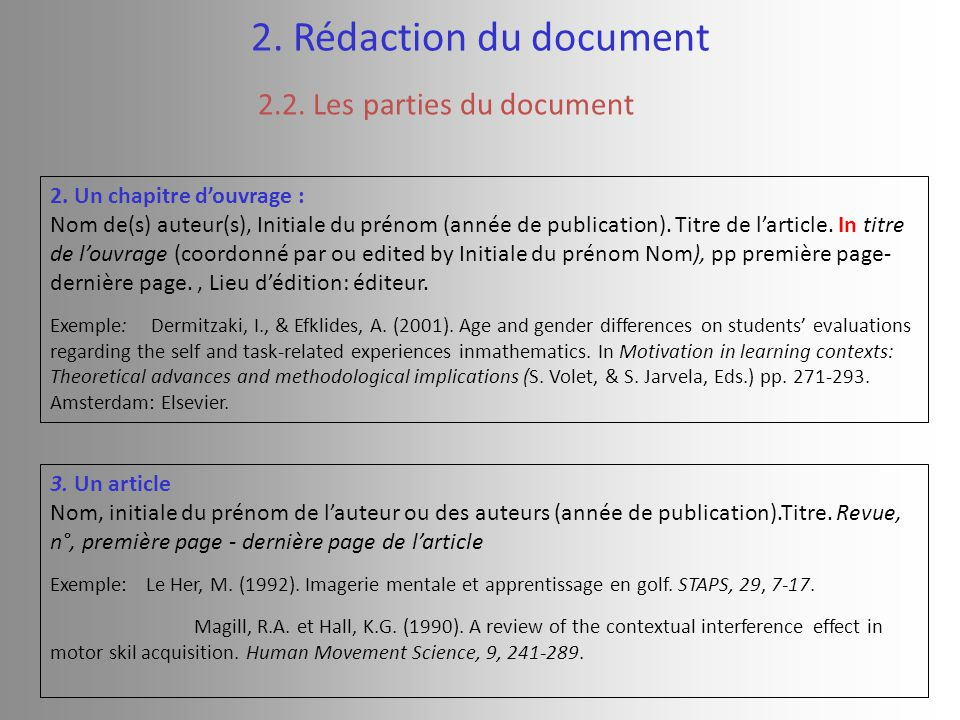 2. Rédaction du document 2.2. Les parties du document