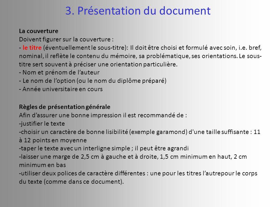 3. Présentation du document