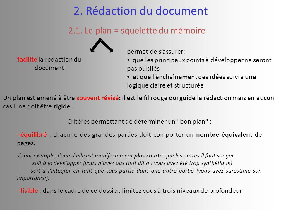2. Rédaction du document 2.1. Le plan = squelette du mémoire