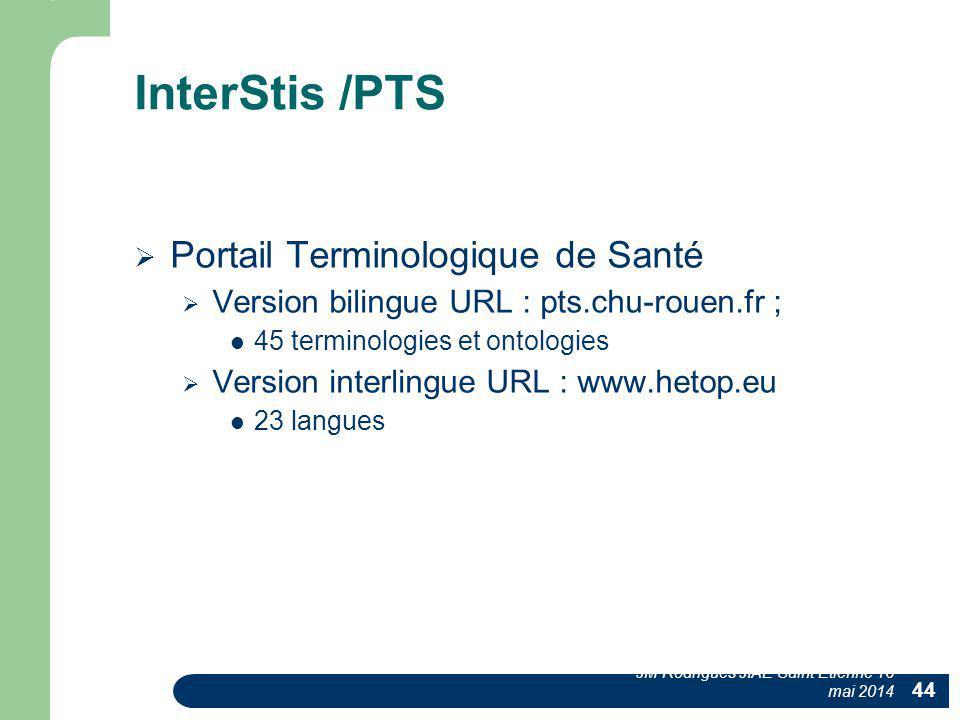 InterStis /PTS Portail Terminologique de Santé