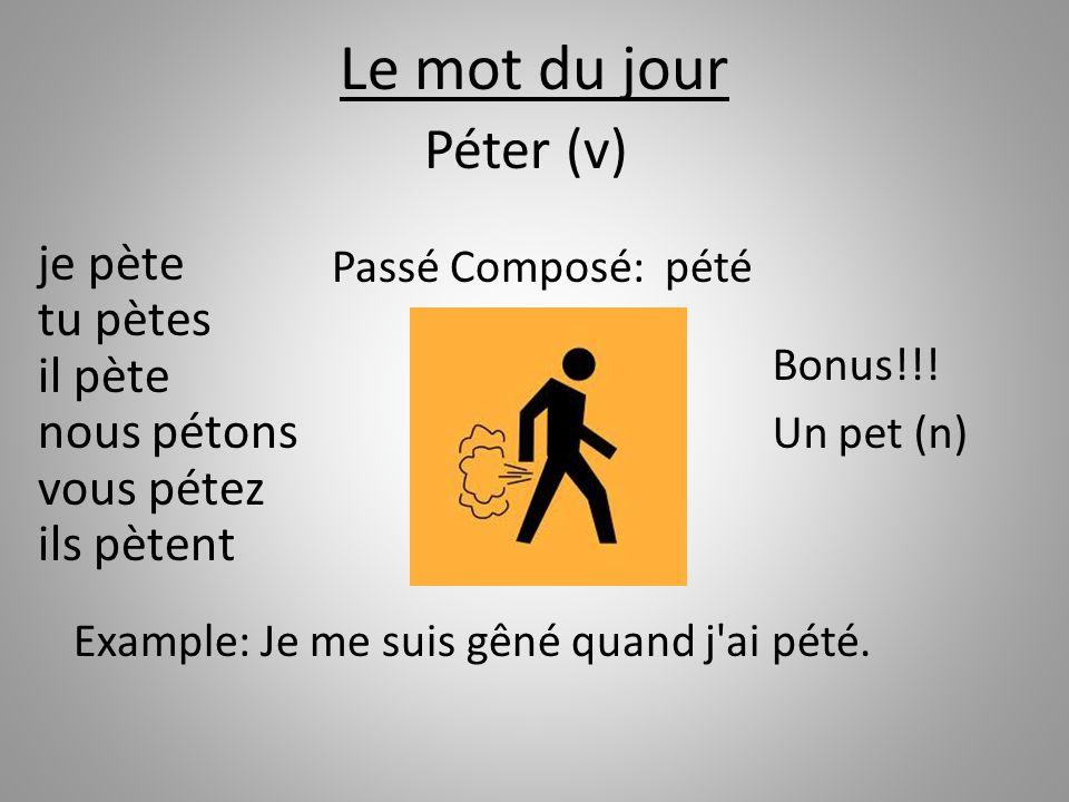 Le mot du jour Péter (v) je pète tu pètes il pète nous pétons vous pétez ils pètent. Passé Composé: pété.