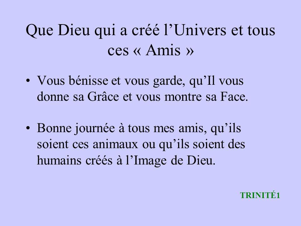 Que Dieu qui a créé l'Univers et tous ces « Amis »