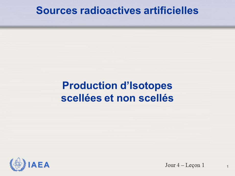 Sources radioactives artificielles