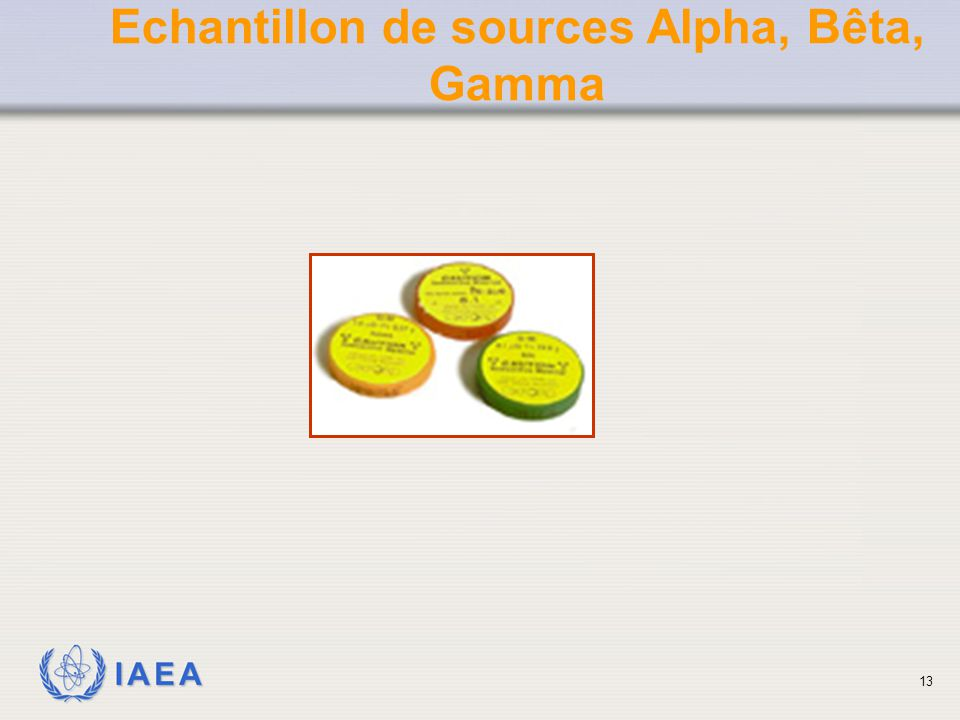 Echantillon de sources Alpha, Bêta,