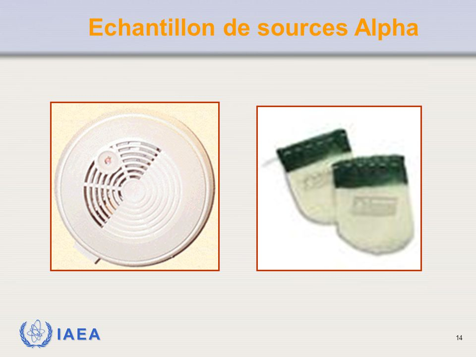 Echantillon de sources Alpha
