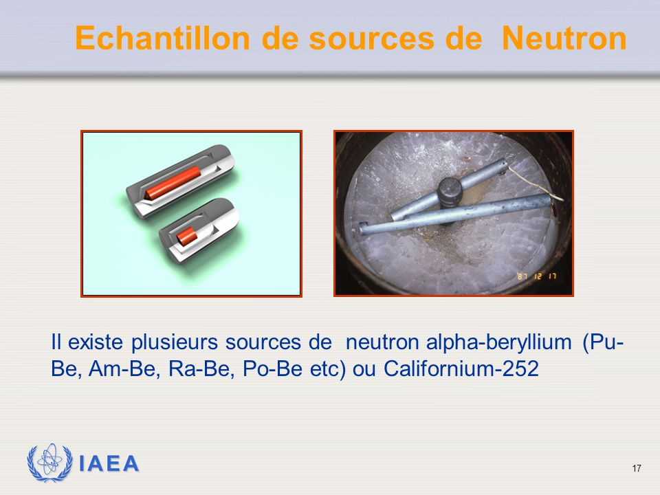 Echantillon de sources de Neutron