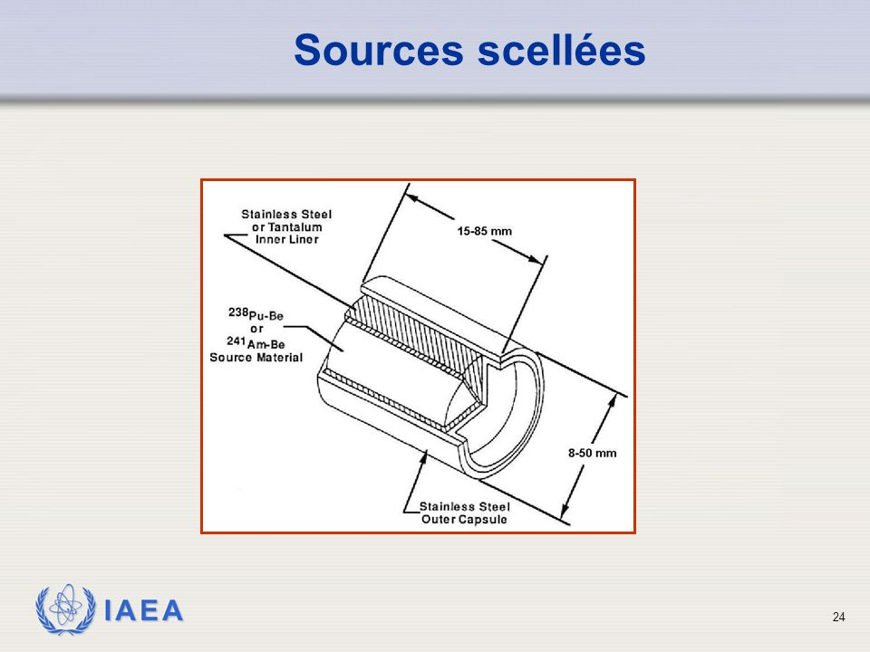 Sources scellées This is a schematic of an alpha-beryllium neutron emitting sealed source.